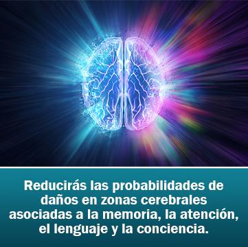 Reducirás las probabilidades de daños en zonas cerebrales asociadas a la memoria, la atención, el lenguaje y la conciencia.